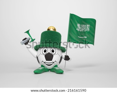 A cute and funny soccer character holding the national flag of Saudi Arabia and a horn dressed in the colors of Saudi Arabia on bright background supporting his team