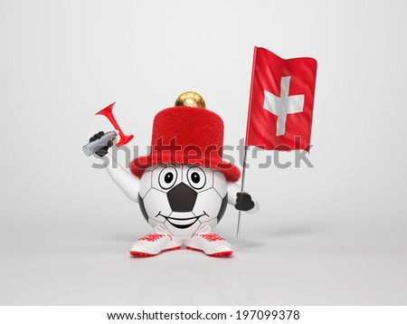 A cute and funny soccer character holding the national flag of Switzerland and a horn dressed in the colors of Switzerland on bright background supporting his team