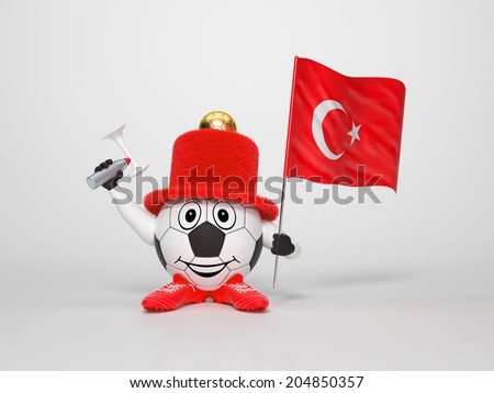 A cute and funny soccer character holding the national flag of Turkey and a horn dressed in the colors of Turkey on bright background supporting his team