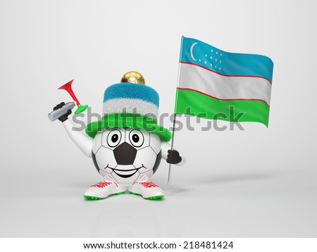 A cute and funny soccer character holding the national flag of Uzbekistan and a horn dressed in the colors of Uzbekistan on bright background supporting his team - stock photo