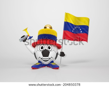A cute and funny soccer character holding the national flag of Venezuela and a horn dressed in the colors of Venezuela on bright background supporting his team
