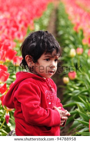 A Cute Baby Girl in the tulip fields