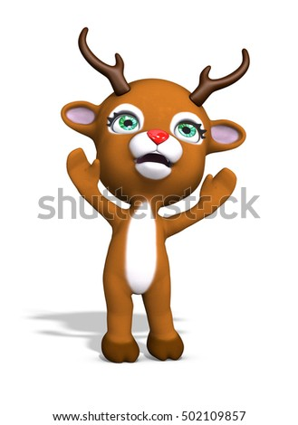 A cute baby reindeer is reaching for a hug - 3d render.