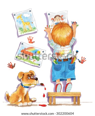 a cute  boy hanging his drawings on the wall. a little artist and his dog with a brush in its mouth. Illustration for children. A kid and his pet. Greeting card. White background. Cartoon character. - stock photo