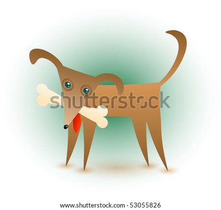 A cute brown dog with a bone in his mouth. - stock photo