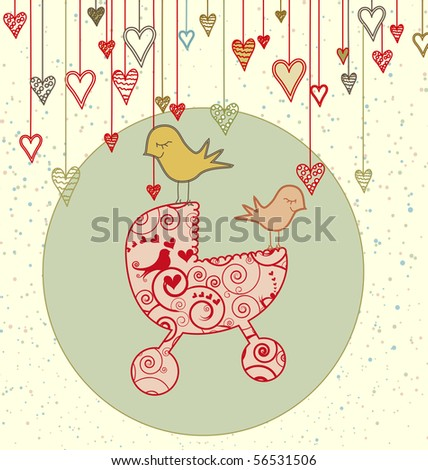 A cute card with birds holding a stroller and hanging hearts - stock photo