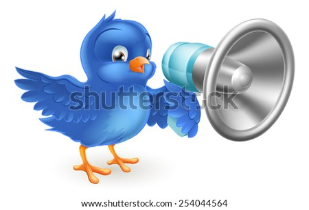 A cute cartoon bluebird blue bird with a mega phone - stock photo