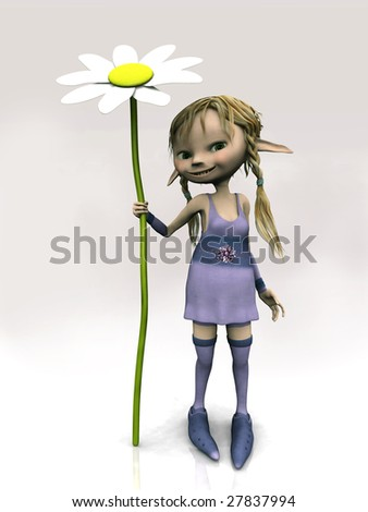 A cute cartoon elf girl with blonde hair holding a big flower. - stock photo