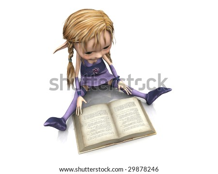 A cute cartoon elf girl with blonde hair sitting on the floor and reading a book.