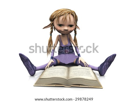 A cute cartoon elf girl with blonde hair sitting on the floor and reading a book. - stock photo