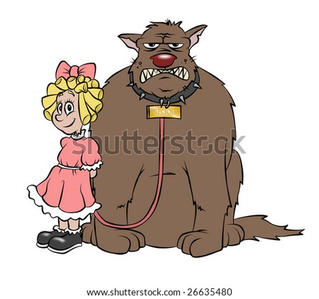 "A cute cartoon girl and her pet puppy, ""Precious"". - stock photo"