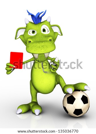 A cute cartoon monster acting as a soccer referee, holding up a red card. He looks a bit annoyed. White background.