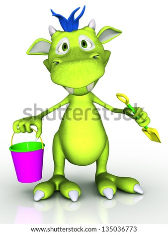 A cute cartoon monster holding a bucket and a spade. He is ready for some fun in the sand. White background.