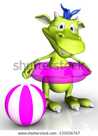 A cute cartoon monster wearing a pink bathing ring. A beach ball is beside him. White background.