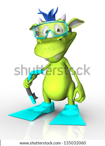 A cute cartoon monster wearing diving gear - a mask, snorkel and fins. White background.