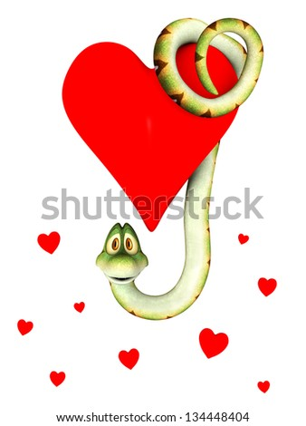 A cute cartoon snake hanging from a big red heart. Several small hearts below him. Isolated on white background. - stock photo