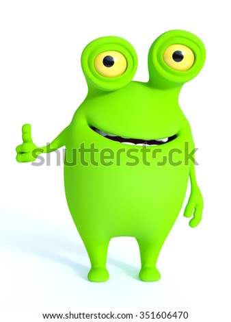A cute charming green cartoon monster doing a thumbs up. White background.