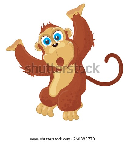 A cute cheeky monkey, this is a cute chimp swinging in the jungle - stock photo