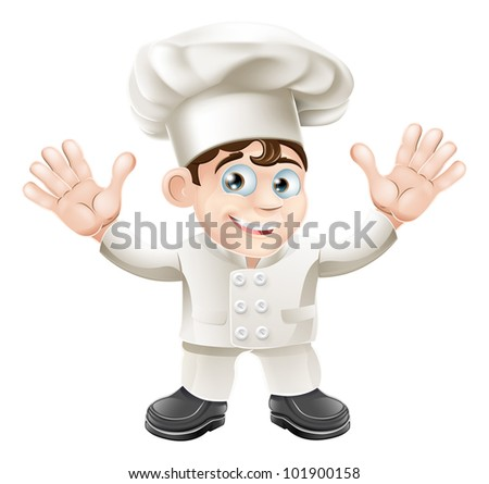 A cute chef mascot character in chef hat and chef uniform - stock photo