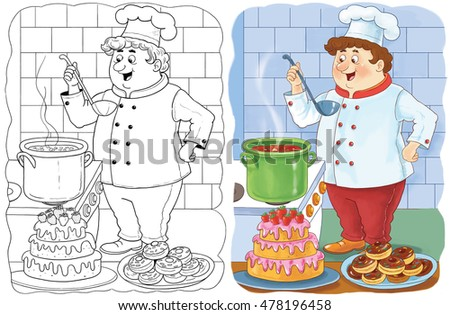 Cute Cook Making Tasty Soup Book Stock Illustration 478436383 ...