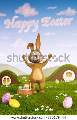 A cute Easter bunny surrounded by Easter eggs. The words 'Happy Easter' have formed in the sky by clouds.