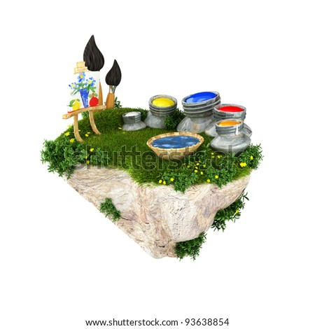 A cute floating island with painting materials. - stock photo