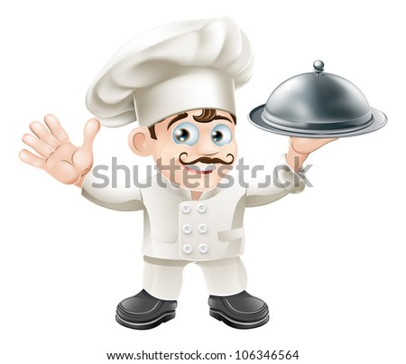 A cute French chef mascot with moustache holding a silver food platter and looking at viewer - stock photo