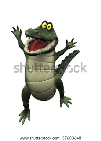 A cute, friendly cartoon crocodile jumping for joy. - stock photo