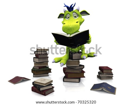 A cute friendly cartoon monster sitting on a pile of books and reading a book. Several piles of books are on the floor around him. The monster is green with blue hair. White background.