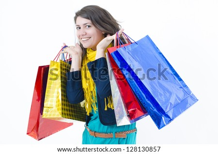 A cute girl coming happy from shopping