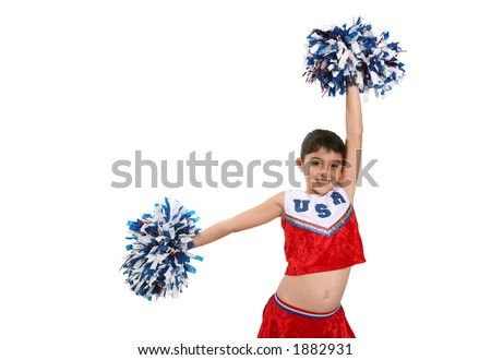 A cute girl in a cheerleader uniform