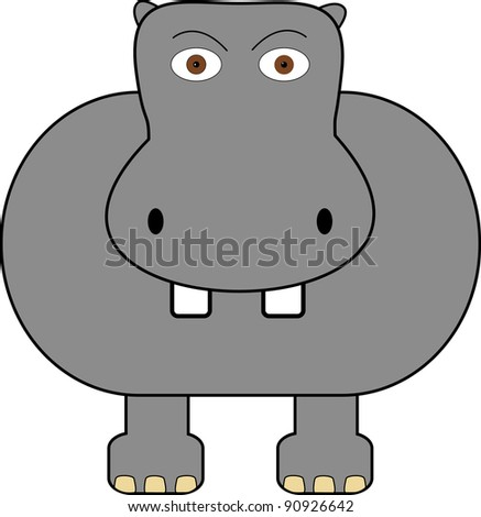 A cute hippo on a plain white background