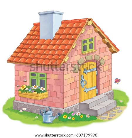 cute house made bricks three little stock illustration 607199990