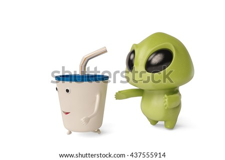 A cute little cartoon monster trace  drink,3D illustration. - stock photo