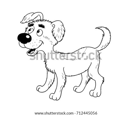 A Cute Little Dog Coloring Page Book Illustration For Children Funny