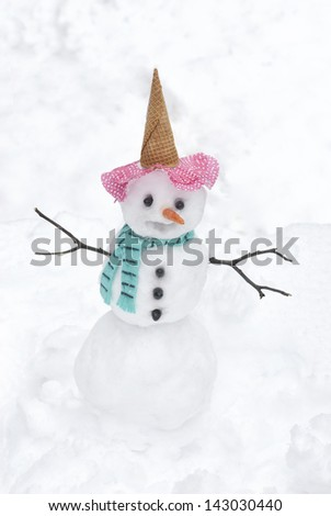 A cute little snowman on a cold winter day, vertical with space for text - stock photo