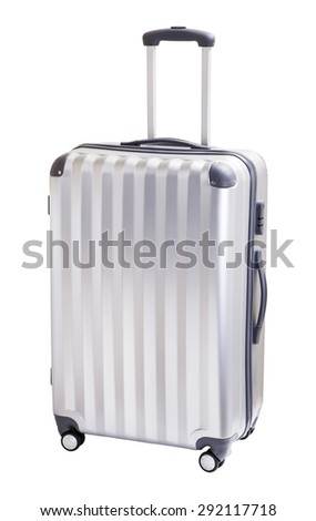 A cute luggage with three handle and four wheels - stock photo
