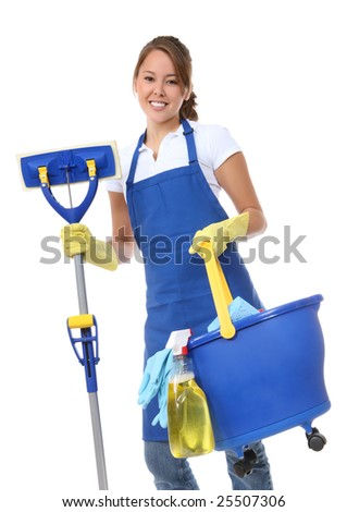 A cute maid cleaner woman with mop and bucket - stock photo