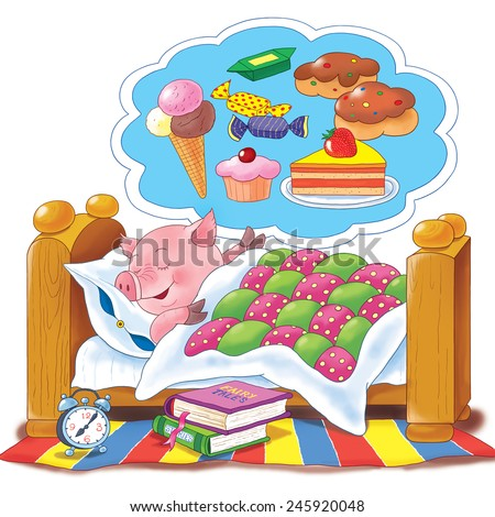 A cute pig sleeping in its bed, watching sweet dreams. Illustration for children, best for greeting card. White background   - stock photo