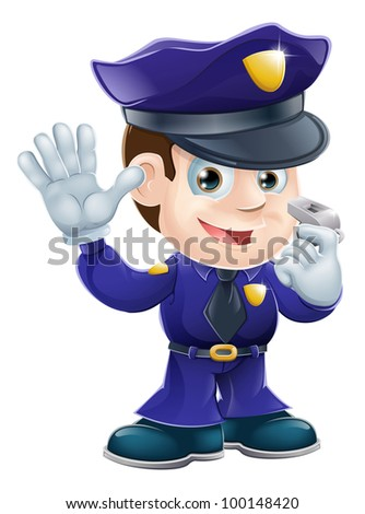 A cute police man character holding a whistle and waving or doing a stop gesture - stock photo