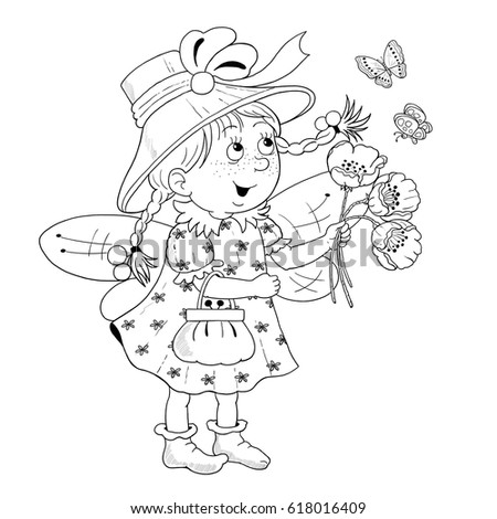 a cute pretty fairy with flowers fairy tale coloring page funny cartoon characters