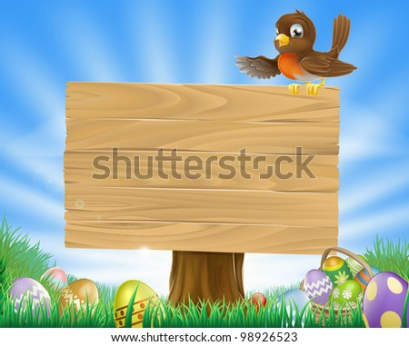 A cute robin bird character sitting on a message board sign surrounded by Easter eggs in a green field