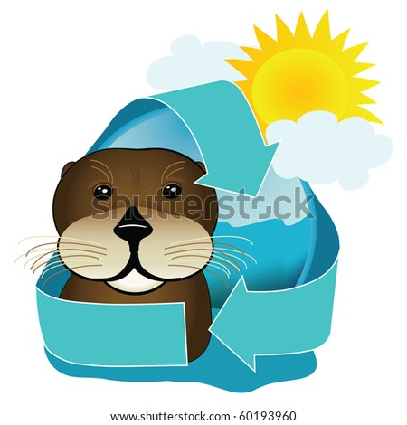 A cute sea otter icon encompasses the recycling arrows. Great image for environmentally friendly sea tours - stock photo