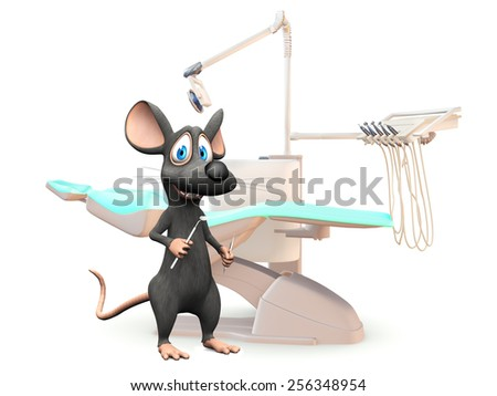 A cute smiling cartoon mouse holding dentist tools in his hands, ready to do a dental exam. White background. - stock photo