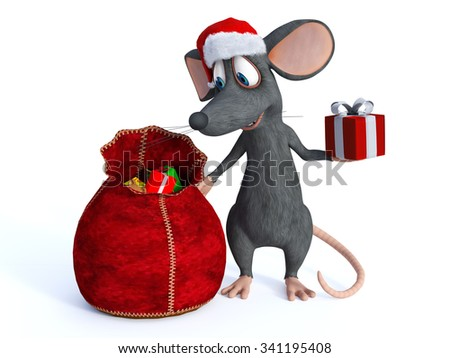 A cute smiling cartoon mouse wearing a Santa hat and handing out Christmas gifts from a bag. White background. - stock photo