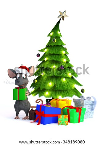 A cute smiling cartoon mouse wearing a Santa hat and holding a gift in his hands. Beside him is a Christmas tree with presents under it. White background. - stock photo