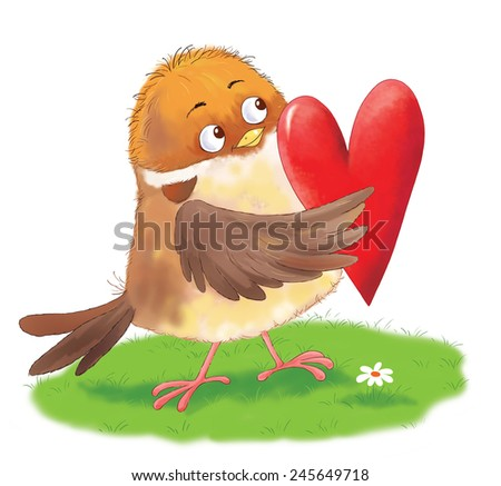 a cute sparrow with a red heart. Greeting card. Valentine's day - stock photo