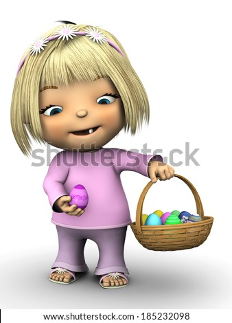 A cute toddler girl wearing pink clothes, smiling and holding an Easter egg in one hand and a basket full of Easter eggs in the other. White background. - stock photo
