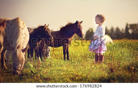 A cute white girl in jockey boots walking among little pony in the field on a sunny summer day - stock photo