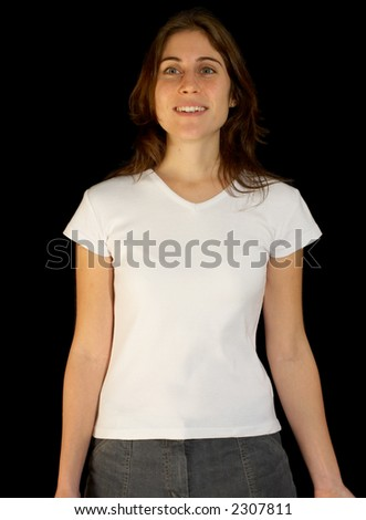 A cute woman modeling a white t-shirt, blank and ready for a logo (including clipping-path)